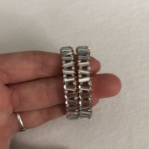 Lulu's Jewelry - Lulus PRESENT MOMENT GOLD RHINESTONE HOOP EARRINGS